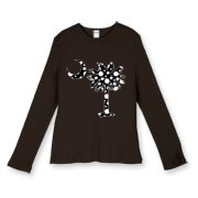 Buy a Black Polka Dot Palmetto Moon Women's Fitted Baby Rib Long Sleeve Tee that features a black palmetto moon with white polka dots.