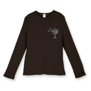 Buy a Black Polka Dot Palmetto Moon Women's Fitted Baby Rib Long Sleeve Tee that features a black palmetto moon with white polka dots printed smaller on the left chest area.