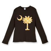 Buy a Yellow Polka Dot Palmetto Moon Women's Fitted Baby Rib Long Sleeve Tee that features a yellow palmetto moon with white polka dots.