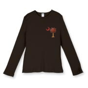 Buy a Basketball Palmetto Moon Women's Fitted Baby Rib Long Sleeve Tee. It features the South Carolina palmetto with a basketball and hardwood floor theme printed on the left chest area. It's perfect for any South Carolina basketball fan!
