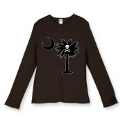 Buy a Jolly Roger Pirate Palmetto Moon Women's Fitted Baby Rib Long Sleeve Tee featuring a palmetto with a Jolly Roger pirate flag background. The palmetto moon is a symbol of South Carolina pride.
