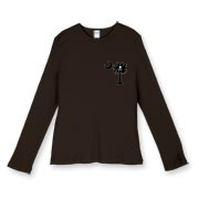 Buy a Jolly Roger Pirate Palmetto Moon Women's Fitted Baby Rib Long Sleeve Tee featuring a smaller palmetto printed on the left chest area with a Jolly Roger pirate flag background. The palmetto moon is a symbol of South Carolina pride.