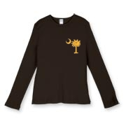 Buy a Yellow Smiley Palmetto Moon Women's Fitted Baby Rib Long Sleeve Tee featuring a smaller palmetto printed on the left chest area. The palmetto moon is a symbol of South Carolina pride.