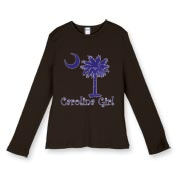 Buy a Purple Carolina Girl Women's Fitted Baby Rib Long Sleeve Tee featuring the South Carolina palmetto moon logo.