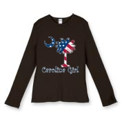 Buy a U.S. Flag Carolina Girl Women's Fitted Baby Rib Long Sleeve Tee featuring the American flag in the background of the South Carolina palmetto moon logo.