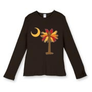 Buy a Thanksgiving Turkey Palmetto Moon Women's Fitted Baby Rib Long Sleeve Tee and celebrate Turkey Day South Carolina style.