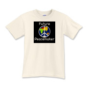 Do you have a future peacemaker at home? This is perfect for him or her! Let the world know that your child will make a difference in the lives of others! :)
