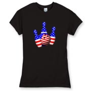 This patriotic women's dark bowling shirt design has bowling pins and bowling ball all covered in stars and stripes of the American flag.