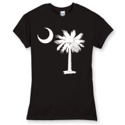 Buy a White Palmetto Moon Women's Fitted Fine Jersey Tee. The palmetto moon is a symbol of South Carolina pride.