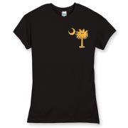 Buy a Yellow Smiley Palmetto Moon Women's Fitted Fine Jersey Tee featuring a smaller palmetto printed on the left chest area. The palmetto moon is a symbol of South Carolina pride.