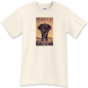 Safari. A vintage travel poster from the 1930's for Africa. This retro t-shirt has a distressed look it's as though you've had it for years.