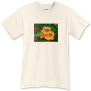 Nasturtiums nestle in a forest of their own stems and leaves. This cheery shirt will make you smile all day!