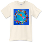 You will LOVE this colorful design, featuring children of various nationalities surrounding an image of the Western Hemisphere!  Promote a message of peace with apparel featuring this fun, bright image of international harmony.  Originally a batik-fabric