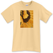 The rich butterscotch colors of a sunflower create a cheery shirt to brighten the day you wear it.