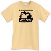 The Michigan Militia Minuteman T-Shirt in a color they're calling Vegas Gold.