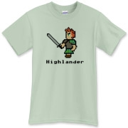 Celtic tee featuring the highland warrior as he appeared on 8-bit manuscripts from the Dark Ages.  Digital whiskey not shown on this Nintendo-like Celtic shirt.  A fine original shirt from Murchada Outfitters!