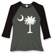 Buy a White Palmetto Moon Women's Fitted Baseball Tee. The palmetto moon is a symbol of South Carolina pride.