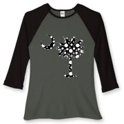 Buy a Black Polka Dot Palmetto Moon Women's Fitted Baseball Tee that features a black palmetto moon with white polka dots.