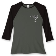 Buy a Black Polka Dot Palmetto Moon Women's Fitted Baseball Tee that features a black palmetto moon with white polka dots printed smaller on the left chest area.
