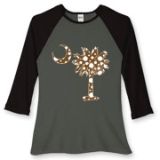 Buy a Chocolate Brown Polka Dot Palmetto Moon Women's Fitted Baseball Tee that features a brown palmetto moon with white polka dots.