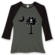 Buy a Jolly Roger Pirate Palmetto Moon Women's Fitted Baseball Tee featuring a palmetto with a Jolly Roger pirate flag background. The palmetto moon is a symbol of South Carolina pride.