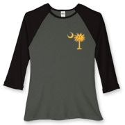 Buy a Yellow Smiley Palmetto Moon Women's Fitted Baseball Tee featuring a smaller palmetto printed on the left chest area. The palmetto moon is a symbol of South Carolina pride.