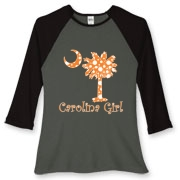 Buy an Orange Polka Dots Carolina Girl Women's Fitted Baseball Tee featuring the South Carolina palmetto moon logo.