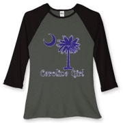 Buy a Purple Carolina Girl Women's Fitted Baseball Tee featuring the South Carolina palmetto moon logo.