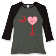 A Candy Heart Palmetto Moon Women's Fitted Baseball Tee with Be Mine! Perfect for Valentine's Day, it features a pink candy heart on the South Carolina Palmetto Moon with Be Mine.