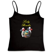 This cute women's dark shirt design shows a bowling ball embossed with ribbon flowers, with more flowers interspersed among the bowling ball and bowling pins. Perfect for the lady bowler you know.