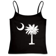 Buy a White Palmetto Moon Women's Fitted Camisole Tank. The palmetto moon is a symbol of South Carolina pride.