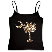 Buy a Chocolate Brown Polka Dot Palmetto Moon Women's Fitted Camisole Tank that features a brown palmetto moon with white polka dots.