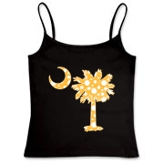 Buy a Yellow Polka Dot Palmetto Moon Women's Fitted Camisole Tank that features a yellow palmetto moon with white polka dots.