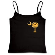 Buy a Yellow Smiley Palmetto Moon Women's Fitted Camisole Tank featuring a smaller palmetto printed on the left chest area. The palmetto moon is a symbol of South Carolina pride.