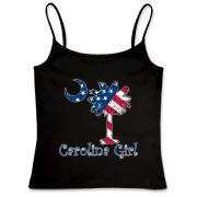 Buy a U.S. Flag Carolina Girl Women's Fitted Camisole Tank featuring the American flag in the background of the South Carolina palmetto moon logo.