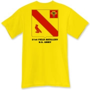 21st Field Artillery - Light Color T-Shirts. Front & Back Insignia. Available in 13 Light Colors.