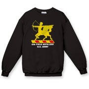 6th Field Artillery - Dark Color, Crewneck Sweatshirts. Front Insignia, Available in 10 Dark Colors.