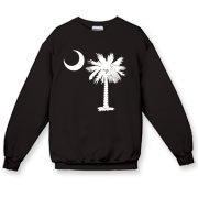Buy a White Palmetto Moon Crewneck Sweatshirt. The palmetto moon is a symbol of South Carolina pride.