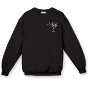 Buy a Black Polka Dot Palmetto Moon Crewneck Sweatshirt that features a black palmetto moon with white polka dots printed smaller on the left chest area.