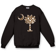 Buy a Chocolate Brown Polka Dot Palmetto Moon Crewneck Sweatshirt that features a brown palmetto moon with white polka dots.