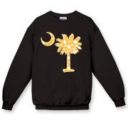 Buy a Yellow Polka Dot Palmetto Moon Crewneck Sweatshirt that features a yellow palmetto moon with white polka dots.