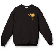 Buy a Yellow Smiley Palmetto Moon Crewneck Sweatshirt featuring a smaller palmetto printed on the left chest area. The palmetto moon is a symbol of South Carolina pride.