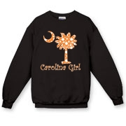 Buy an Orange Polka Dots Carolina Girl Crewneck Sweatshirt featuring the South Carolina palmetto moon logo.