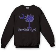 Buy a Purple Carolina Girl Crewneck Sweatshirt featuring the South Carolina palmetto moon logo.