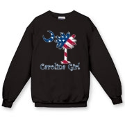 Buy a U.S. Flag Carolina Girl Crewneck Sweatshirt featuring the American flag in the background of the South Carolina palmetto moon logo.