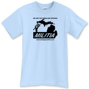 The Michigan Militia Minuteman T-Shirt in Light Blue.