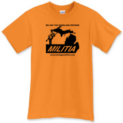 The Michigan Militia Minuteman T-Shirt in Tangerine!