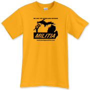 The Michigan Militia Minuteman T-Shirt, Gold color.