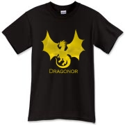 Dragonor Logo on the front; Trefoil Academy emblem on the back. Text designed for darker shirt colors.