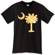 Yellow Polka Dot Palmetto Moon T-Shirt features a yellow palmetto moon with white polka dots. Buy this fun variation on the South Carolina palmetto moon flag today!
